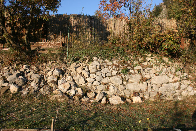 Cleared stone wall