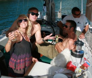 Katie & Tim and our new friend Dragan, aboard the Monty B - all drinking through their hangovers...
