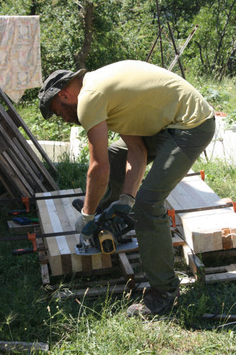 June - Giuseppe cutting wood