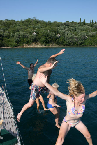 July - jumping in sea